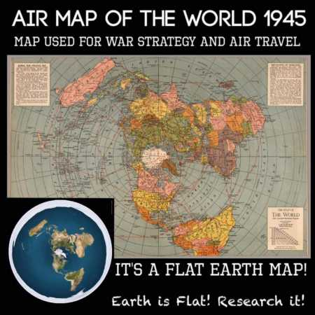 1945 Air Map of The World